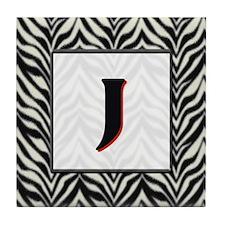 Zebra Monogram J Tile Coaster