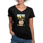 Mona / Gr Pyrenees Women's V-Neck Dark T-Shirt