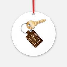 Wyoming Key Fob With Key Round Ornament