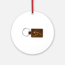 Alaska Leather Key Fob Round Ornament