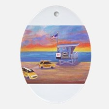 Redondo Beach Lifeguard Tower Oval Ornament