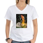 Fairies / Gr Pyrenees Women's V-Neck T-Shirt