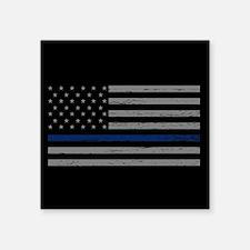 "Thin Blue Line Square Sticker 3"" x 3"""