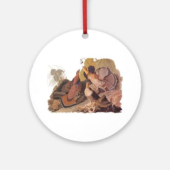 Ruffed Grouse Vintage Audubon Art Round Ornament
