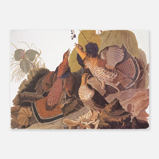 Ruffed Grouse Vintage Audubon Art 5'x7'Area Rug