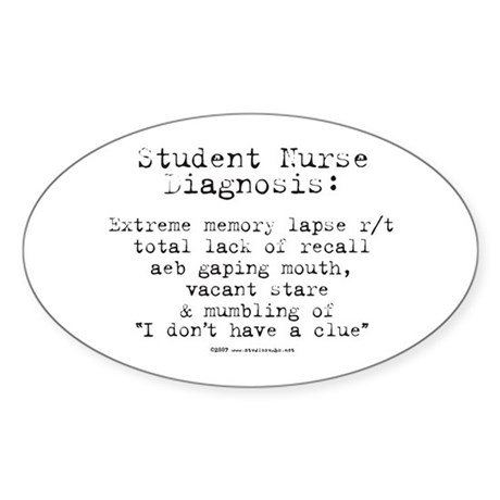 Student Nurse Memory Oval Sticker