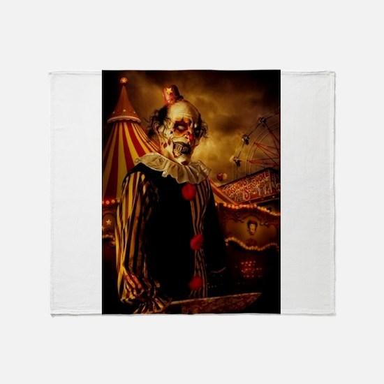 Scary Circus Clown Throw Blanket