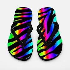 rainbow zebra Flip Flops