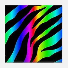 rainbow zebra Tile Coaster