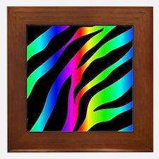rainbow zebra Framed Tile