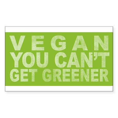 Vegan - Can't get greener Rectangle Sticker