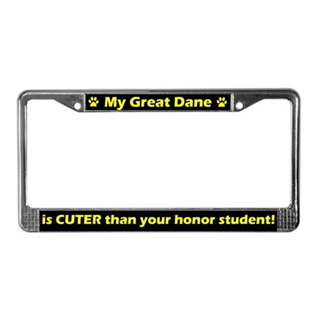 Honor Student Great Dane License Plate Frame