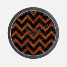 CHEVRON9 BLACK MARBLE & BROWN MARBLE Wall Clock