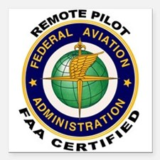 "FAA Certified Remote Pilot Square Car Magnet 3"" x"