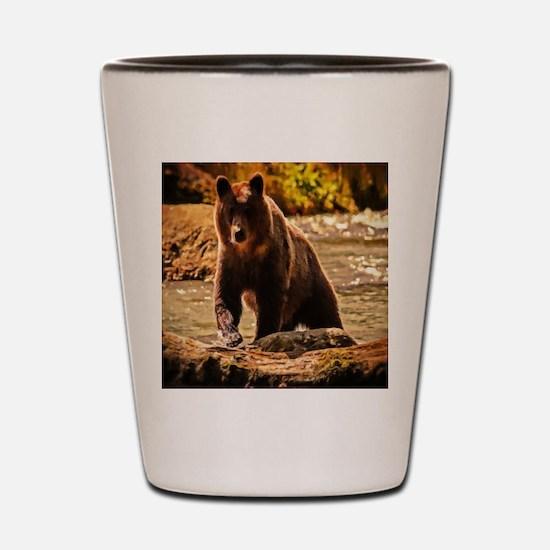 Bear On Log Shot Glass