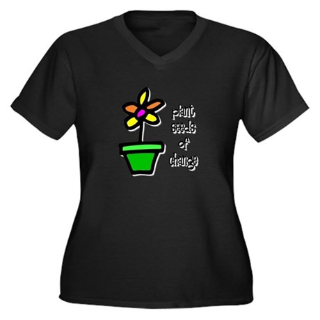 Plant Seeds of Change Women's Plus Size V-Neck Dar