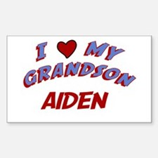 I Love My Grandson Aiden Rectangle Decal