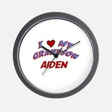 I Love My Grandson Aiden Wall Clock