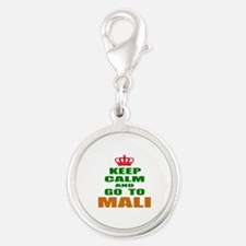 Keep Calm and go to Mali Silver Round Charm