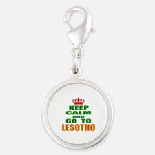 Keep Calm and go to Lesotho Silver Round Charm