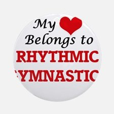 My heart belongs to Rhythmic Gymnas Round Ornament