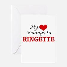 My heart belongs to Ringette Greeting Cards