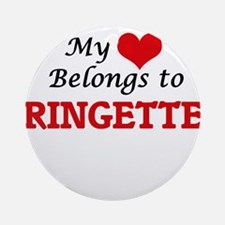 My heart belongs to Ringette Round Ornament