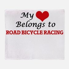 My heart belongs to Road Bicycle Rac Throw Blanket