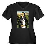 Mona / GSMD Women's Plus Size V-Neck Dark T-Shirt