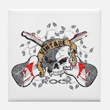 Vintage Rock Skull and Guitars Tile Coaster