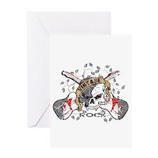 Vintage Rock Skull and Guitars Greeting Card
