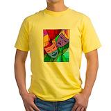 Comedy tragedy masks Mens Yellow T-shirts