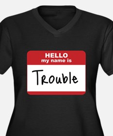 My Name Is Trouble Women's Plus Size V-Neck Dark T