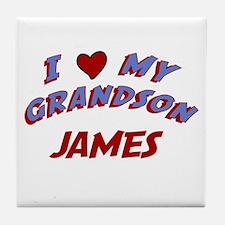 I Love My Grandson James Tile Coaster