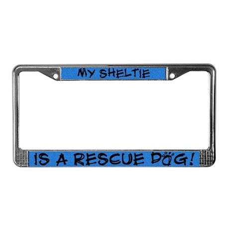 Rescue Dog Sheltie License Plate Frame