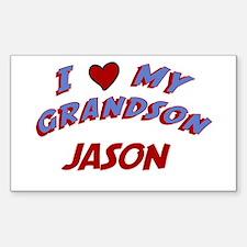 I Love My Grandson Jason Rectangle Decal