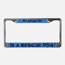 Rescue Dog Shar Pei License Plate Frame