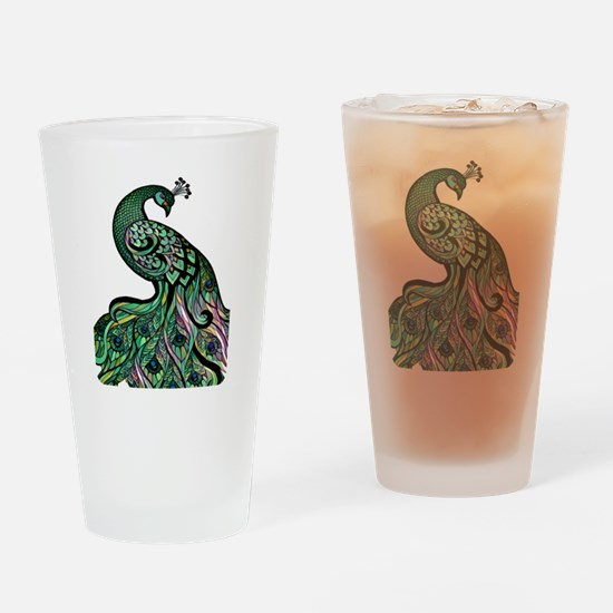 Cute Peacock feathers Drinking Glass