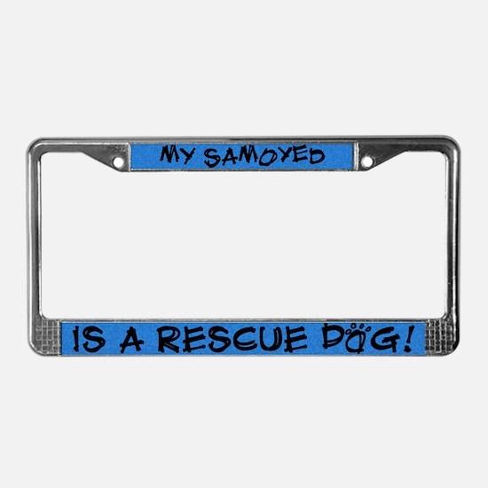 Rescue Dog Samoyed License Plate Frame