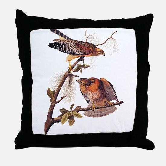 Red Shouldered Hawk Vintage Audubon Art Throw Pill