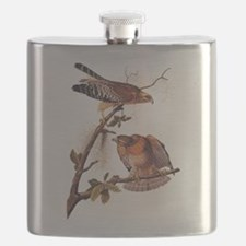 Red Shouldered Hawk Vintage Audubon Art Flask