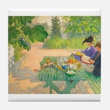 Holiday Reading by Carl Larsson Tile Coaster