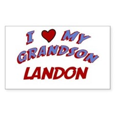 I Love My Grandson Landon Rectangle Decal