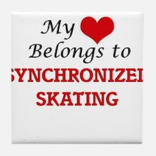 My heart belongs to Synchronized Skat Tile Coaster