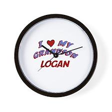I Love My Grandson Logan Wall Clock