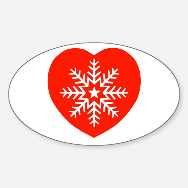 Snowflake Heart Oval Decal
