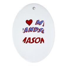 I Love My Grandson Mason Oval Ornament