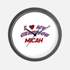 I Love My Grandson Micah Wall Clock