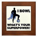 Bowling Superhero Framed Tile
