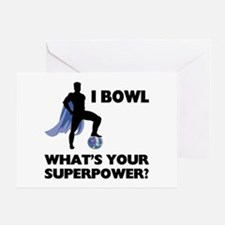 Bowling Superhero Greeting Card